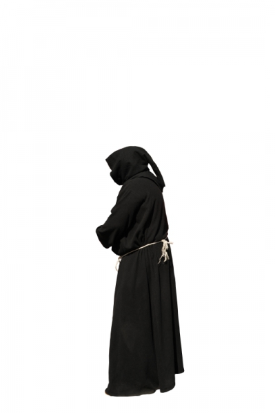 White background picture of monk in black costume