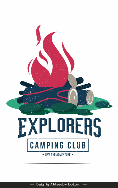 Camping Club Poster Template Retro Warna Fire Wood