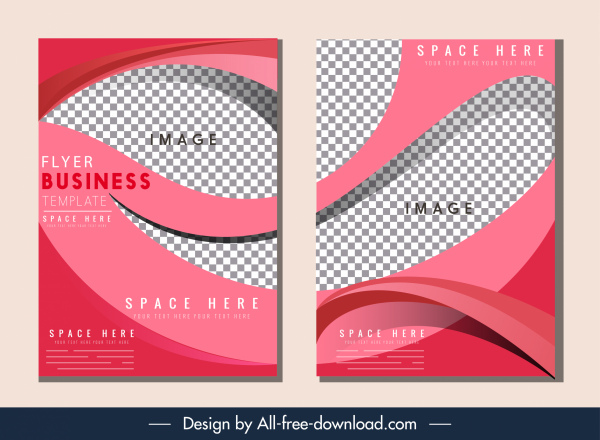Corporate flyer template elegant dynamic checkered curves decor