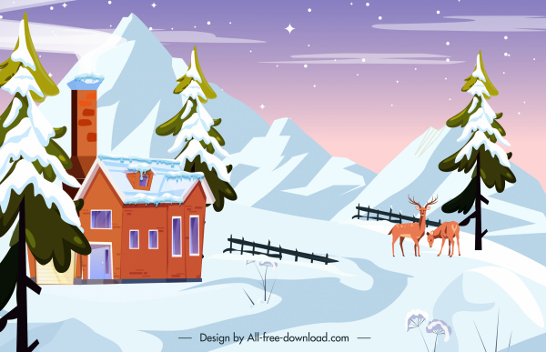 Winter scenery background snow mountain cottage reindeers sketch